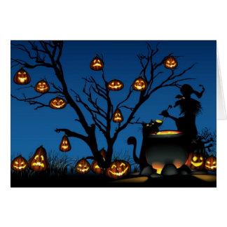 Carte Sorcière et citrouilles de Halloween