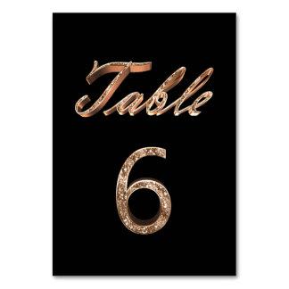 Carte Tableau noir chic élégant numéro 6 de partie d'or