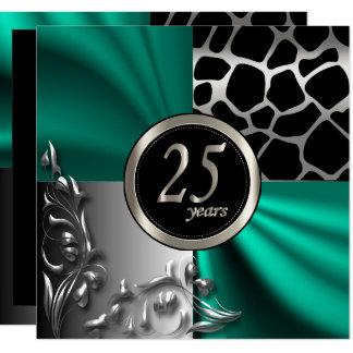 Carte Teal élégant 25 ans de partie de modèle