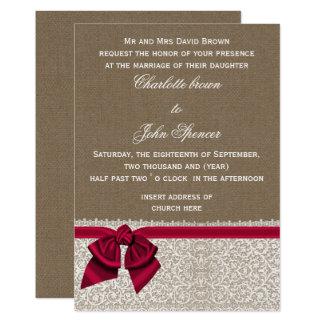 Carte Toile de jute et mariage rose de dentelle