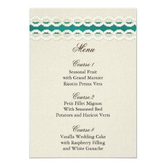 Carte Toile de jute rustique turquoise et mariage