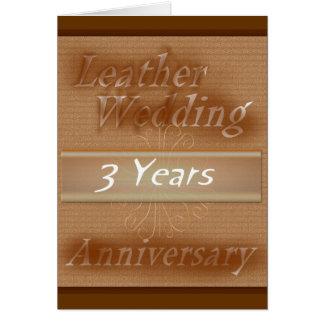 Carte Troisième cuir de ~ d'anniversaire de mariage