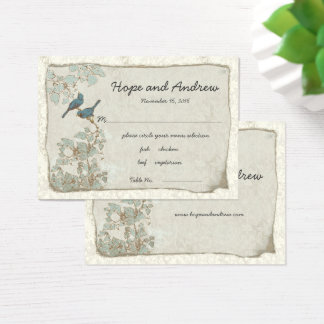 Carte turquoise vintage d'endroit d'oiseaux avec