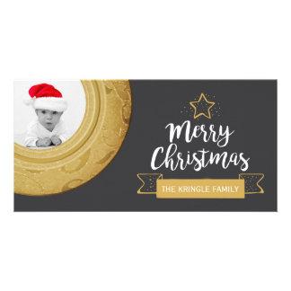 Carte Vacances d'or de tableau de photo de Joyeux Noël