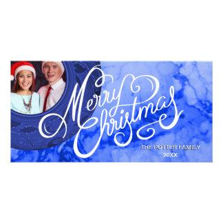 Carte Vacances élégantes de Joyeux Noël de sembler bleu