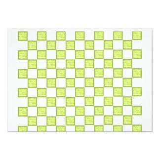 Carte verte et par blanc vérifiée carton d'invitation  12,7 cm x 17,78 cm
