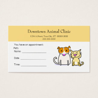 Carte vétérinaire de rendez-vous