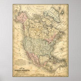 Carte vintage d'impression de toile de l'Amérique Poster
