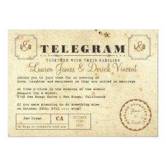 Carte vintage d'invitation de télégramme carton d'invitation  12,7 cm x 17,78 cm