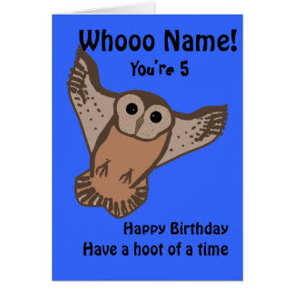 Cartes d'anniversaire drôles de hibou, enfant avec
