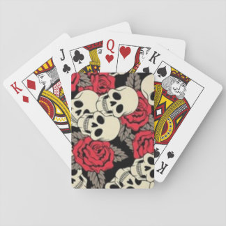Cartes de jeu de crânes et de roses, visages jeu de cartes