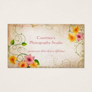 Cartes De Visite Arrière - plan grunge affligé floral vintage