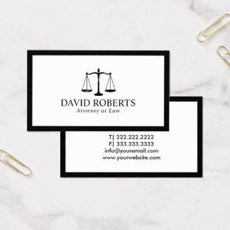 Cartes De Visite Avocat encadré par noir minimal d'avocat