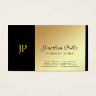 Cartes De Visite Blanc élégant de monogramme et luxe simple d'or