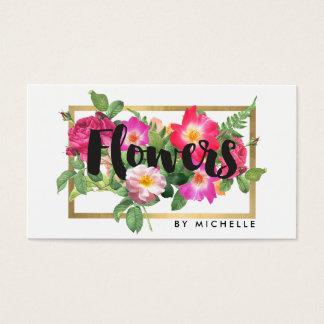 Cartes De Visite Blanc floral de fleuriste de beauté