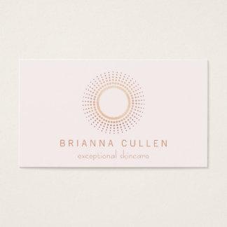 Cartes De Visite Blanc rose élégant d'esthéticien de cercle d'or