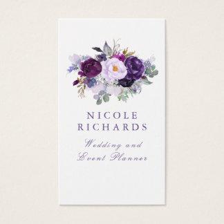 Cartes De Visite Bohémien élégant floral pourpre d'aquarelle