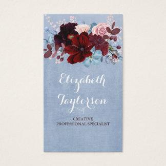 Cartes De Visite Bourgogne et aquarelle florale bleue poussiéreuse