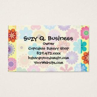 Cartes De Visite Cadeaux floraux colorés Girly de motif de flower