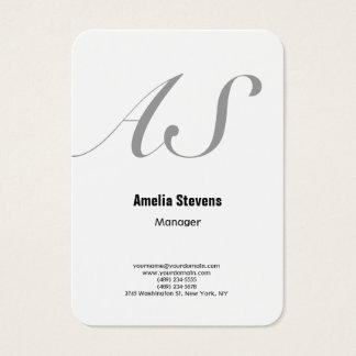 Cartes De Visite Caractères gras blancs élégants minimalistes de