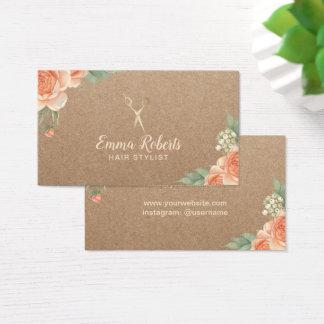 Cartes De Visite Coiffeur Papier d'emballage rustique floral