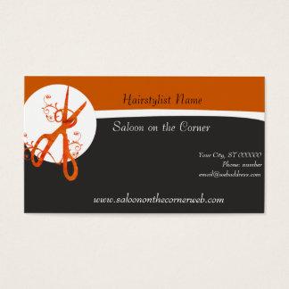 Cartes De Visite Coiffeur rouge naturellement moderne de ciseaux