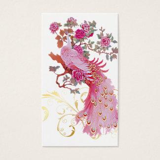 Cartes De Visite Couleur rose d'arrière - plan du paon de