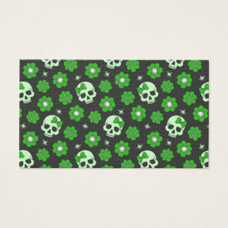 Cartes De Visite Crânes de flower power en vert de fête
