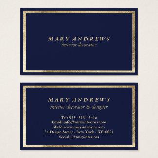 Cartes De Visite Dessinateur d'intérieurs de bleu marine d'or