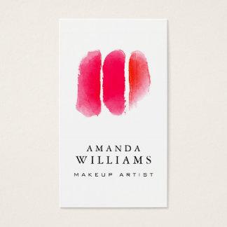 Cartes De Visite Échantillons rouges de maquilleur d'aquarelle