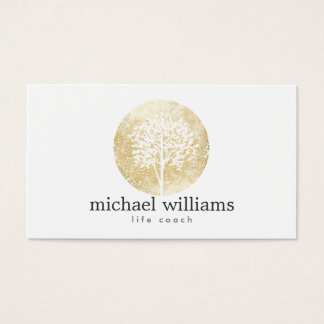 Cartes De Visite Entraîneur d'or de la vie d'arbre d'aquarelle,