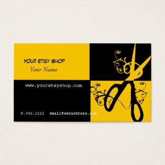 Cartes De Visite Esthéticien noir jaune audacieux tourbillonnant