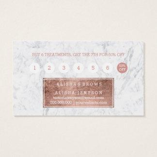 Cartes De Visite Fidélité rose 2 de marbre de typographie d'or de