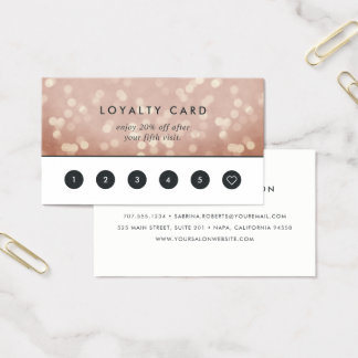 Cartes De Visite Fidélité rose de Bokeh   d'or d'en cuivre