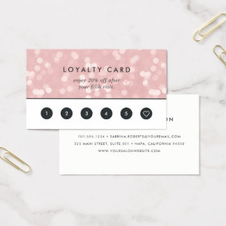 Cartes De Visite Fidélité rose de Champagne Bokeh |