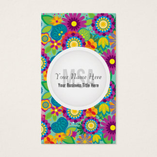 Cartes De Visite Fleurs colorées de salon floral de flower power