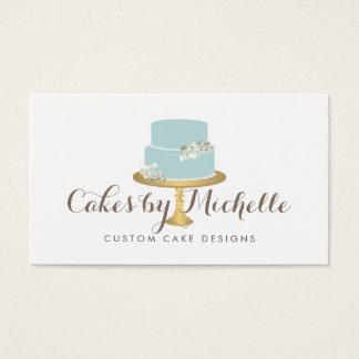 Cartes De Visite Gâteau bleu élégant avec le gâteau floral décorant