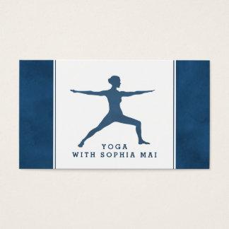 Cartes De Visite Instructeur moderne à la mode de yoga de bleu