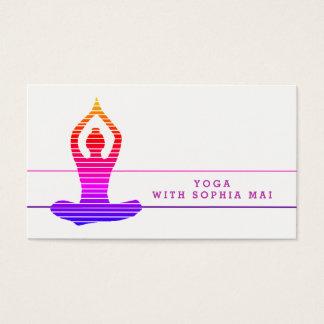 Cartes De Visite Instructeur rayé de yoga vibrant