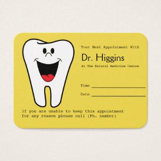 Cartes De Visite Jaune heureux de rappel de rendez-vous de dentiste