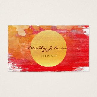 Cartes De Visite Jaune rouge élégant d'abrégé sur moderne aquarelle