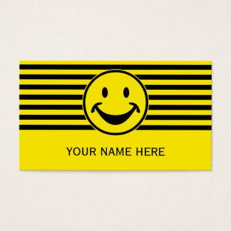 Cartes De Visite Jaune souriant drôle et rayures + votre backg. et