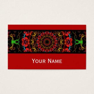 Cartes De Visite Ketmie de fleur de kaléidoscope I + votre texte