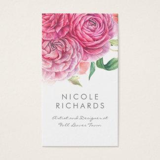 Cartes De Visite L'aquarelle rose fleurit botanique et chic