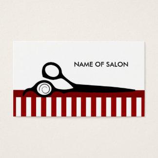 Cartes De Visite Le coiffeur blanc rouge de mod barre des ciseaux