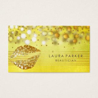 Cartes De Visite L'or de lèvres barre l'esthéticien de maquilleur