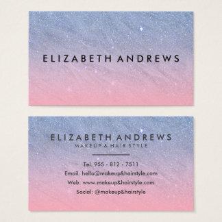 Cartes De Visite Maquillage bleu rose moderne de gradient de