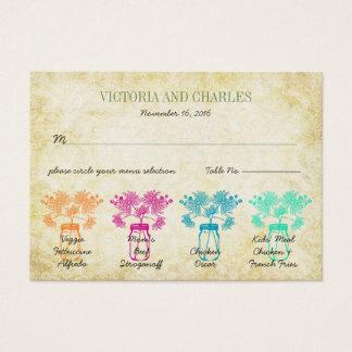 Cartes De Visite Mariage coloré de fleur sauvage de pot de maçon de