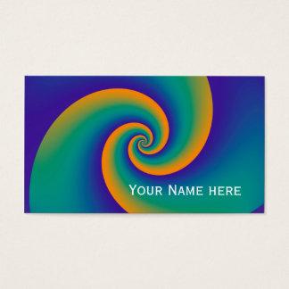 Cartes De Visite Motif de fractale de spirales de puissance - bleu