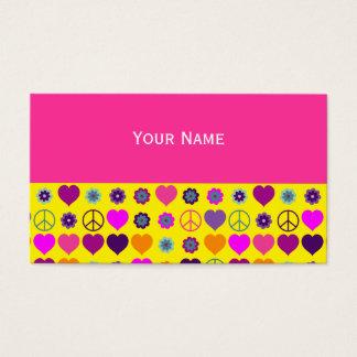 Cartes De Visite Motif de paix de coeur de flower power + votre